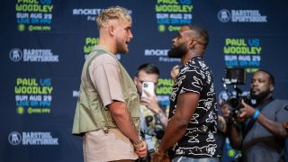 Jake Paul and Tyron Woodley face off at press junket ahead of fight