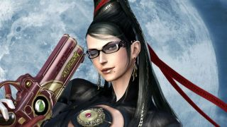 Bayonetta winks as she holds her gun aloft