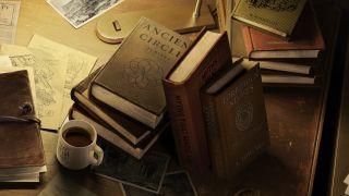 New Indiana Jones game trailer screenshot showing books on a desk