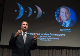 "By accelerating the timeline for getting astronauts back on the moon, ""we are by definition accelerating the humans to Mars program,"" NASA Administrator Jim Bridenstine said in a keynote speech at the Humans to Mars Summit in Washington on May 14, 2019."