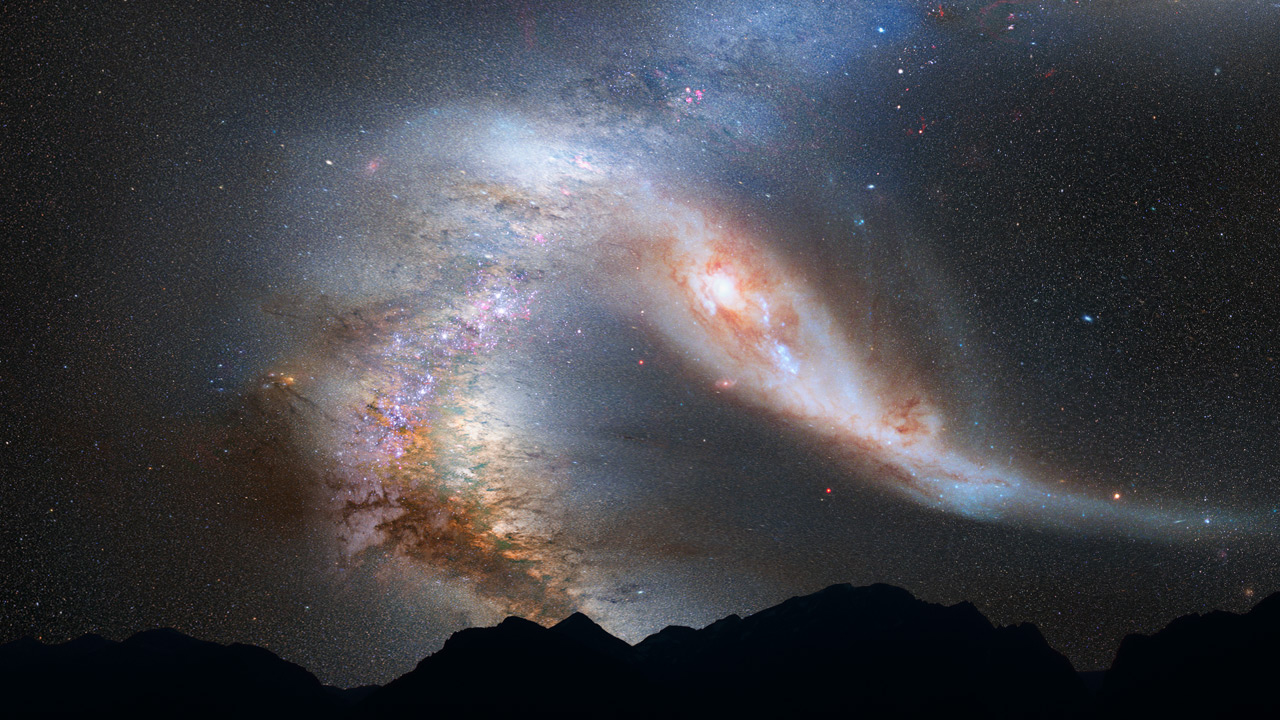 milky way galaxy s head on crash with andromeda artist images space rh space com