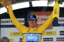 Overall race leader Bradley Wiggins (Sky) on the podium