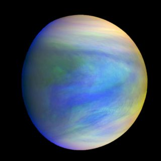 A composite view of Venus as seen by the Akatsuki spacecraft built by the Japan Aerospace Exploration Agency.