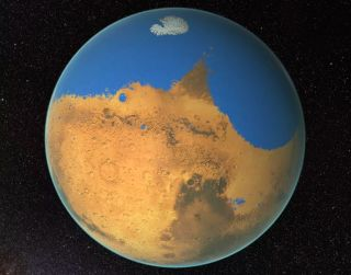 An artist's depiction of Mars covered in water, as it may have been about 4 billion years ago.