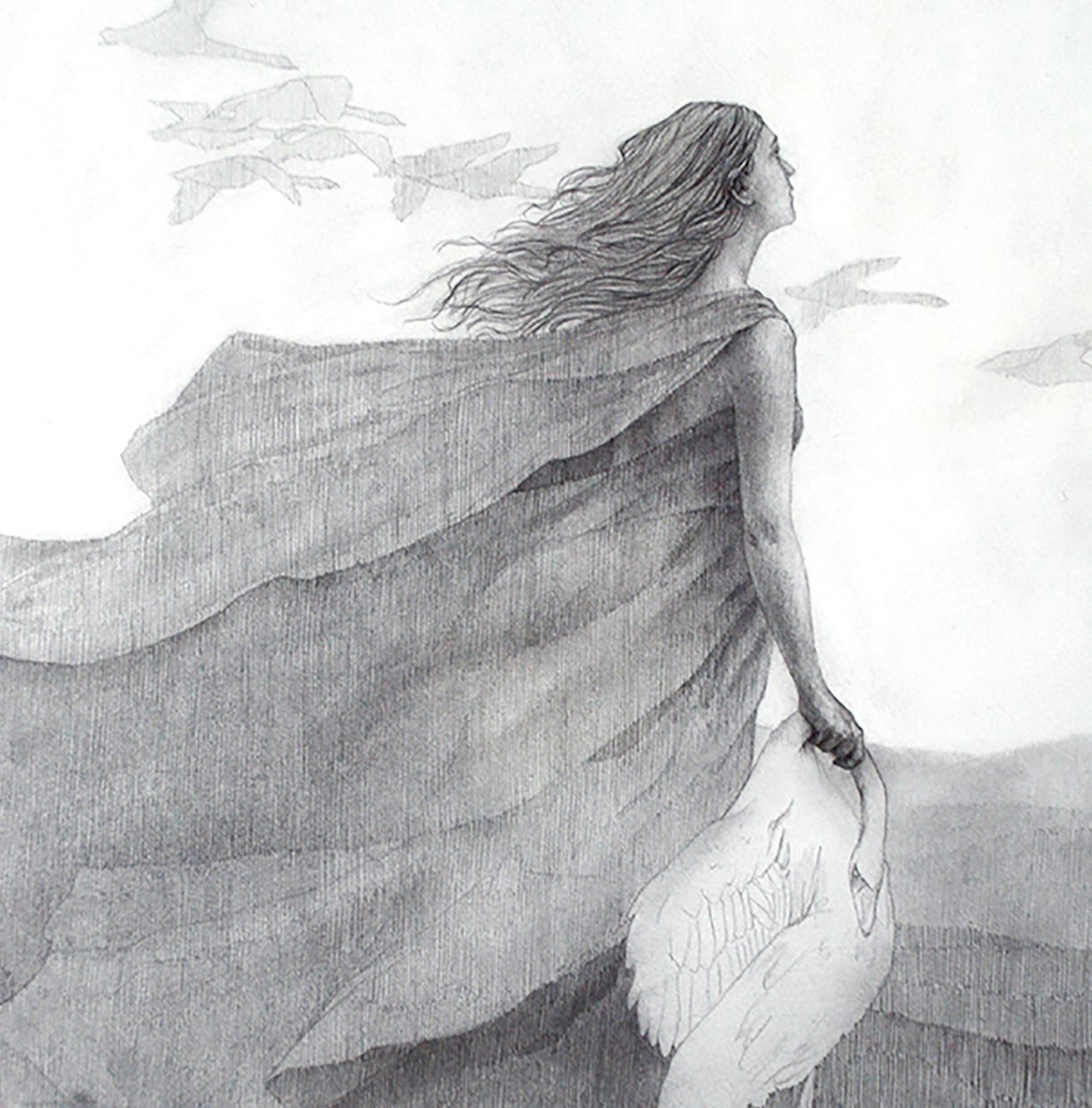 Graphite illustration of woman holding a dead swan looking at a flock of birds with the darkest values blocked into her cloak