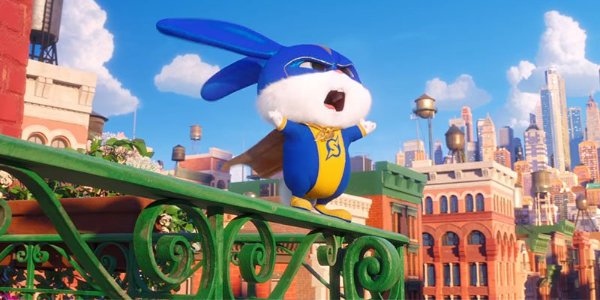 The Secret Life of Pets 2 Snowball on his balcony, shouting for justice
