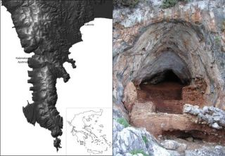 Entrance to Kalamakia cave in Greece where Neanderthal remains were found.