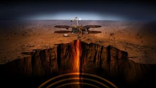 Artist impression of Mars Insight.
