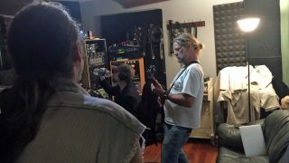 A picture of Pepper Keenan in the studio with Corrosion Of Conformity