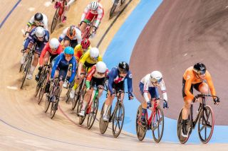 The Netherlands' Kirsten Wild races to victory in the women's scratch race at the 2020 Track World Championships in Berlin, Germany