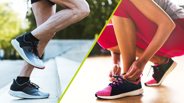 Split image showing a man wearing running shoes on the left and a woman wearing cross training shoes on the right