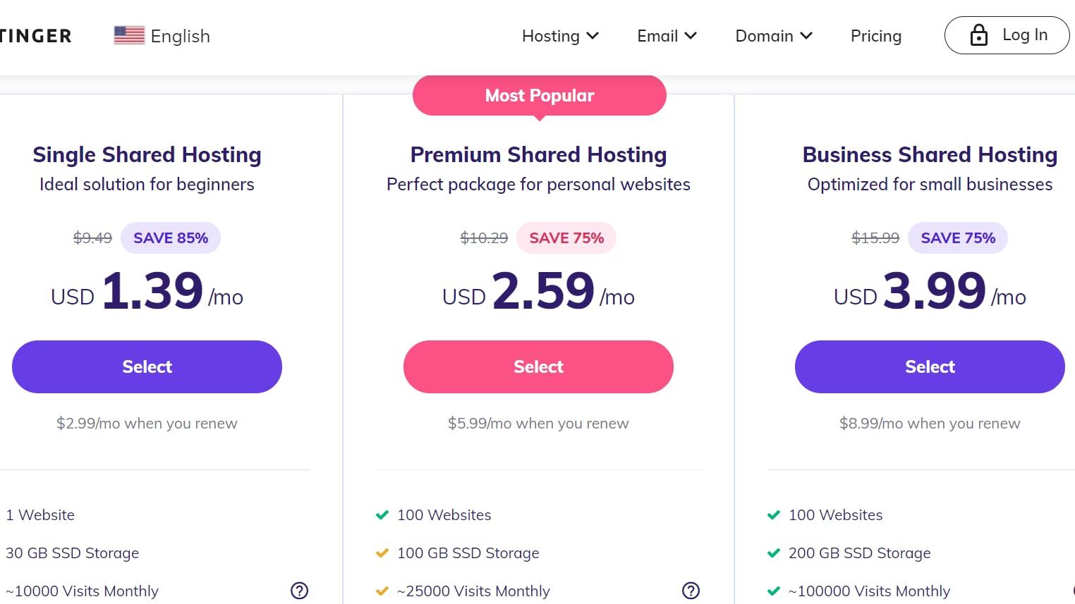 Hostinger plan prices