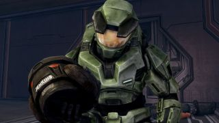 "Halo Masterchief cradles the hemlet of a dead soldier, ""Jenkins"""