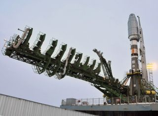 The Soyuz for a planned Dec. 28, 2011 launch of six Globalstar second-generation satellites is shown following its erection over the Baikonur Cosmodrome's launch pad.