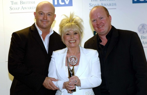 Ross Kemp, Steve McFadden and their screen mum Barbara Windsor (Fiona Hanson/PA)