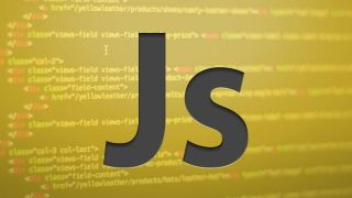 Js on a background of code