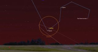 The brilliant planet Venus will shine near the bright star Regulus in the evening of July 9, 2018. This SkySafari map shows the location of Venus and Regulus at 10:10 p.m. local time from mid-northern latitudes.