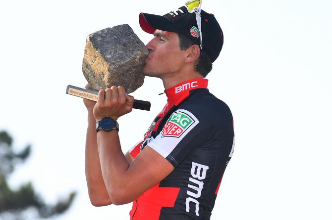 Greg Van Avermaet celebrates his Paris-Roubaix win.