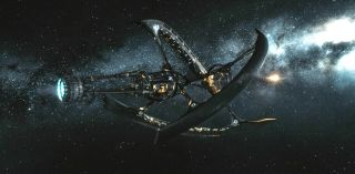 Intricate starship floating on dark background