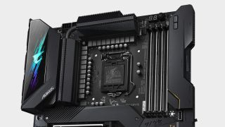 Gigabyte Aorus Z590 motherboard with focus on socket