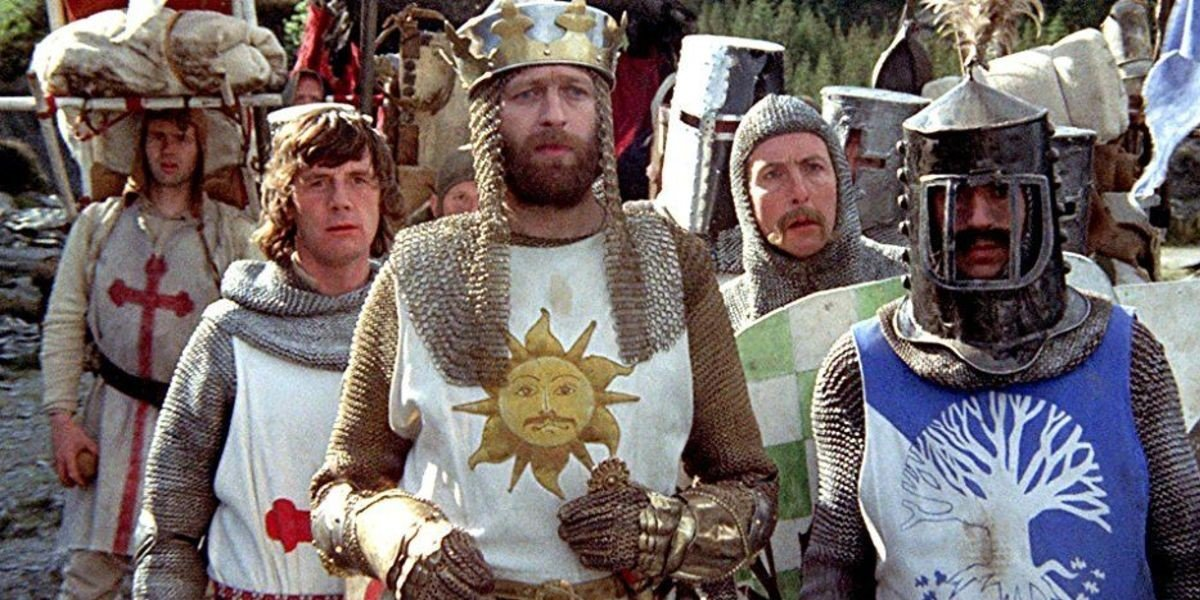 Michael Palin, Graham Chapman, Eric Idle and Terry Jones in Monty Python and the Holy Grail