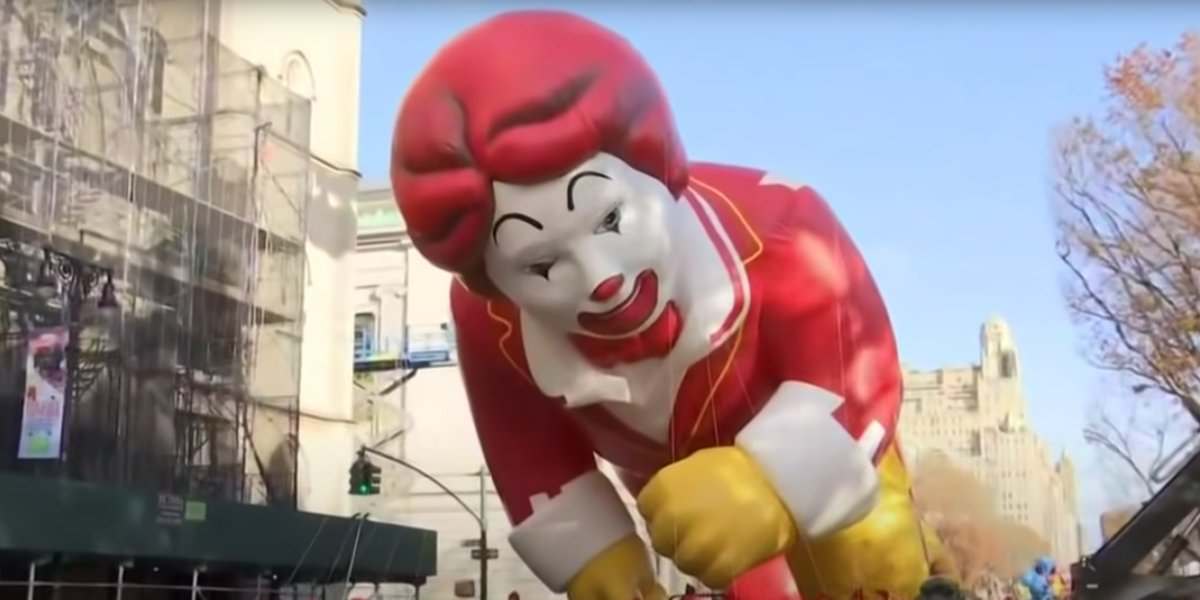 The Ronald McDonald float at the 2019 Macy's Thanksgiving Day Parade
