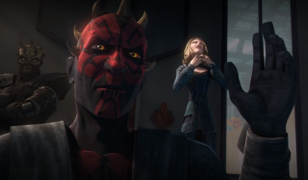 Maul strangling Satine in Star Wars: The Clone Wars
