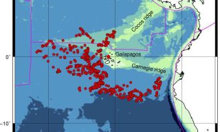 "The red circles on this map represent seismic events, which helped floating ""MERMAIDs"" determine the shape of the magma under the islands."