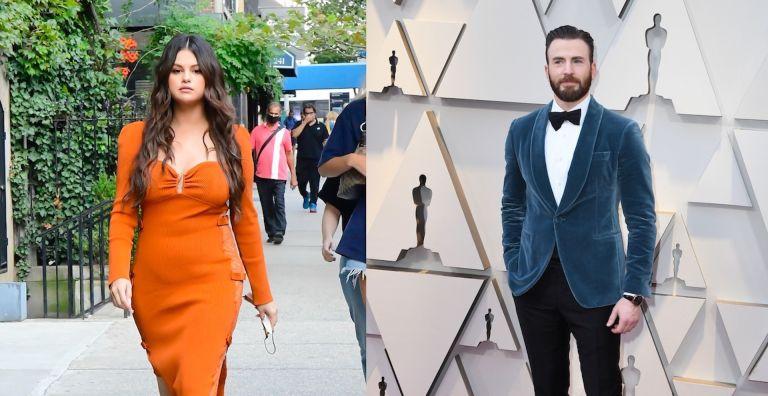 selena gomez in an orange dress chris evans in blue blazer