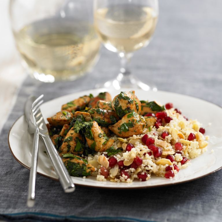 Coriander chicken with pomegranate and almond couscous recipe-recipe ideas-woman and home