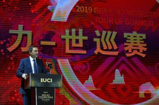 UCI president David Lappartient speaks at the 2019 UCI Cycling Gala in Guilin, China
