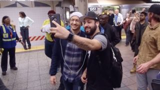 Chester Bennington meets a fan in New York