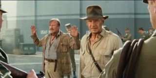 Indiana Jones and Charles Stanforth coming face to face with Irina Spaiko's army for the first time in Indiana Jones and the Kingdom of the Crystal Skull