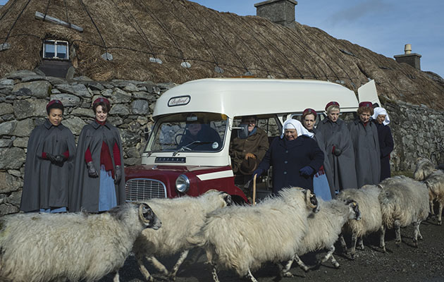 Call the Midwife Christmas 2019 special showing the midwives surrounded by sheep