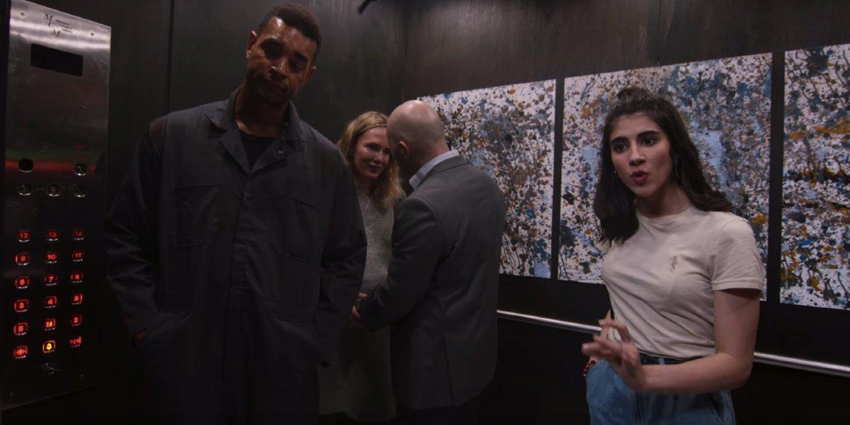 Corona elevator passengers talking