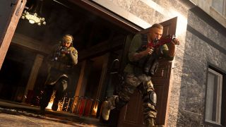 Call Of Duty: Warzone soldiers leaving a building