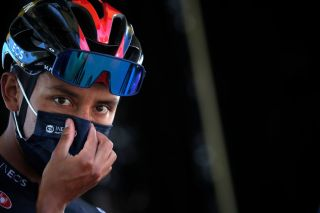 PRIVAS FRANCE SEPTEMBER 02 Start Egan Arley Bernal Gomez of Colombia and Team INEOS Grenadiers Mask Covid Safety Measures during the 107th Tour de France 2020 Stage 5 a 183km stage from Gap to Privas 277m TDF2020 LeTour on September 02 2020 in Privas France Photo by Stephane Mahe PoolGetty Images