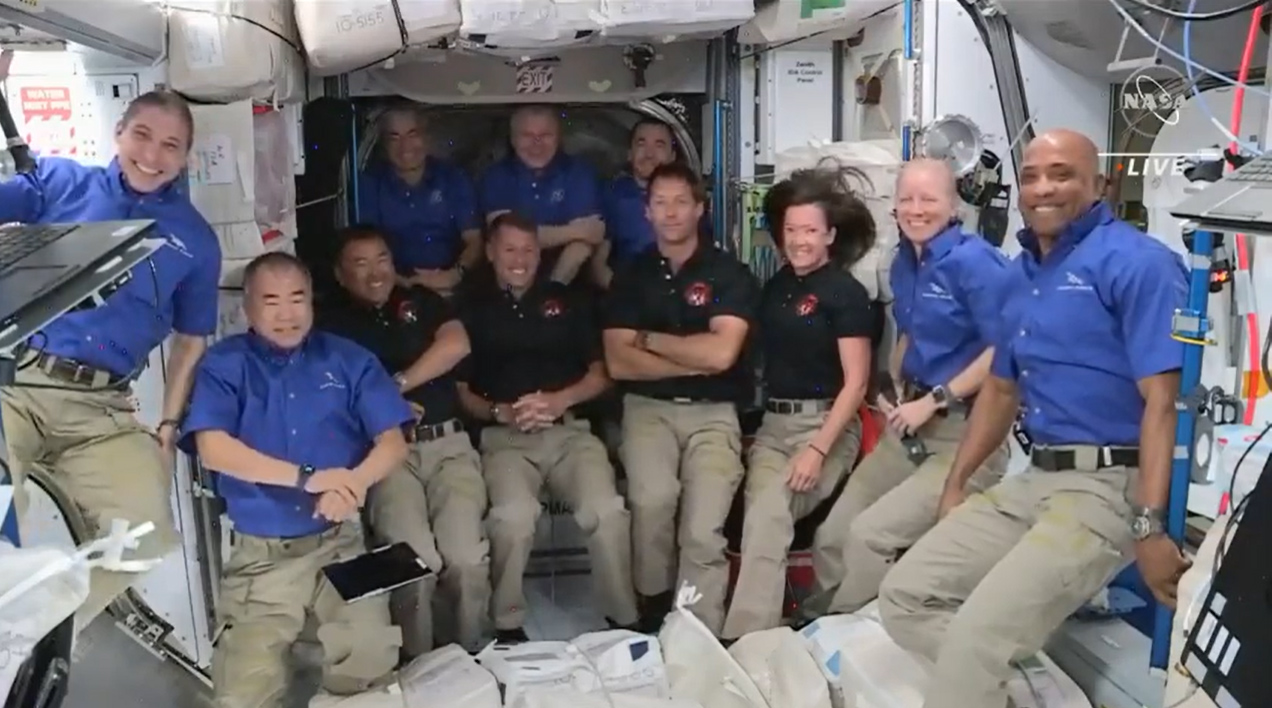 The 11 astronauts and cosmonauts on the International Space Station make up the crews of Crew-1, Crew-2 and Expedition 64.