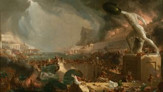 The fall of the Roman Empire depicted in this painting from the New York Historical Society.