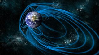 Earth's magnetic field protects us from the solar wind by deflecting the charged particles.