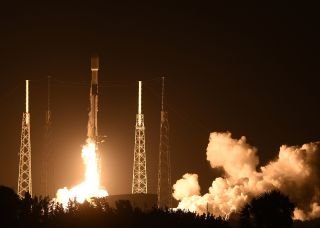 SpaceX Falcon 9 rocket carrying the 19th batch of approximately 60 Starlink satellites launches from pad 40 at Cape Canaveral Space Force Station.