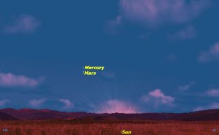 Mercury and Mars Conjuction, February 2013