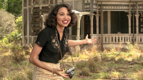 "Letitia ""Leti"" Lewis (Jurnee Smollett) gestures excitedly in ""Holy Ghost."""