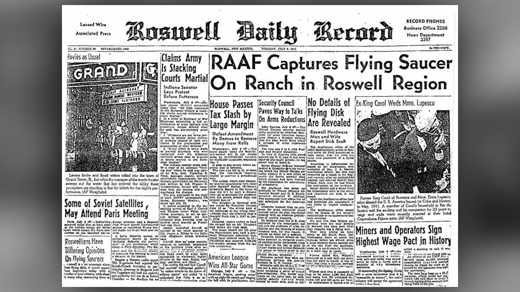 The Roswell Daily Record from July 9, 1947, details the Roswell UFO incident.