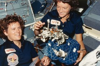 NASA astronauts Kathryn Sullivan and Sally Ride