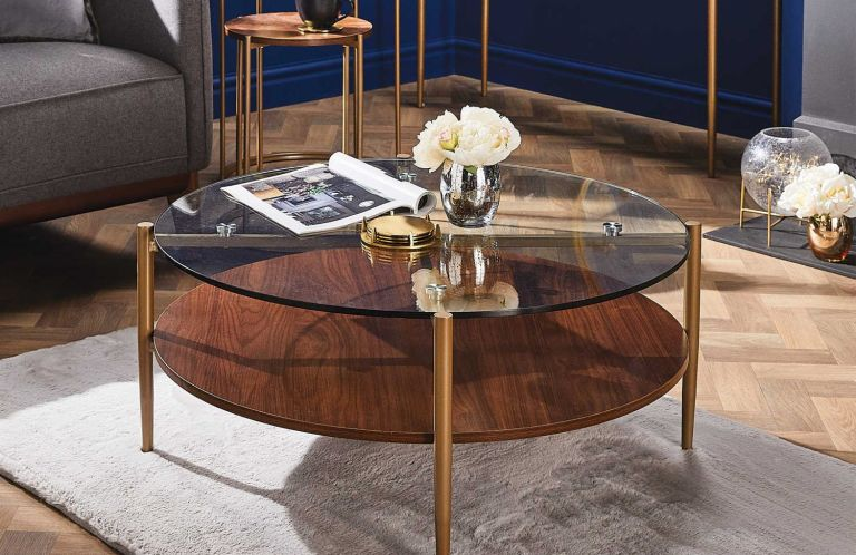 Aldi glass and metal coffee table