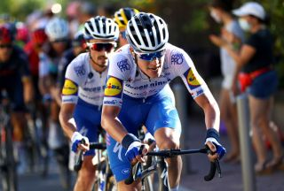 NICE FRANCE AUGUST 30 Bob Jungels of Luxembourg and Team Deceuninck QuickStep Julian Alaphilippe of France and Team Deceuninck QuickStep during the 107th Tour de France 2020 Stage 2 a 186km stage from Nice Haut Pays to Nice TDF2020 LeTour on August 30 2020 in Nice France Photo by Michael SteeleGetty Images
