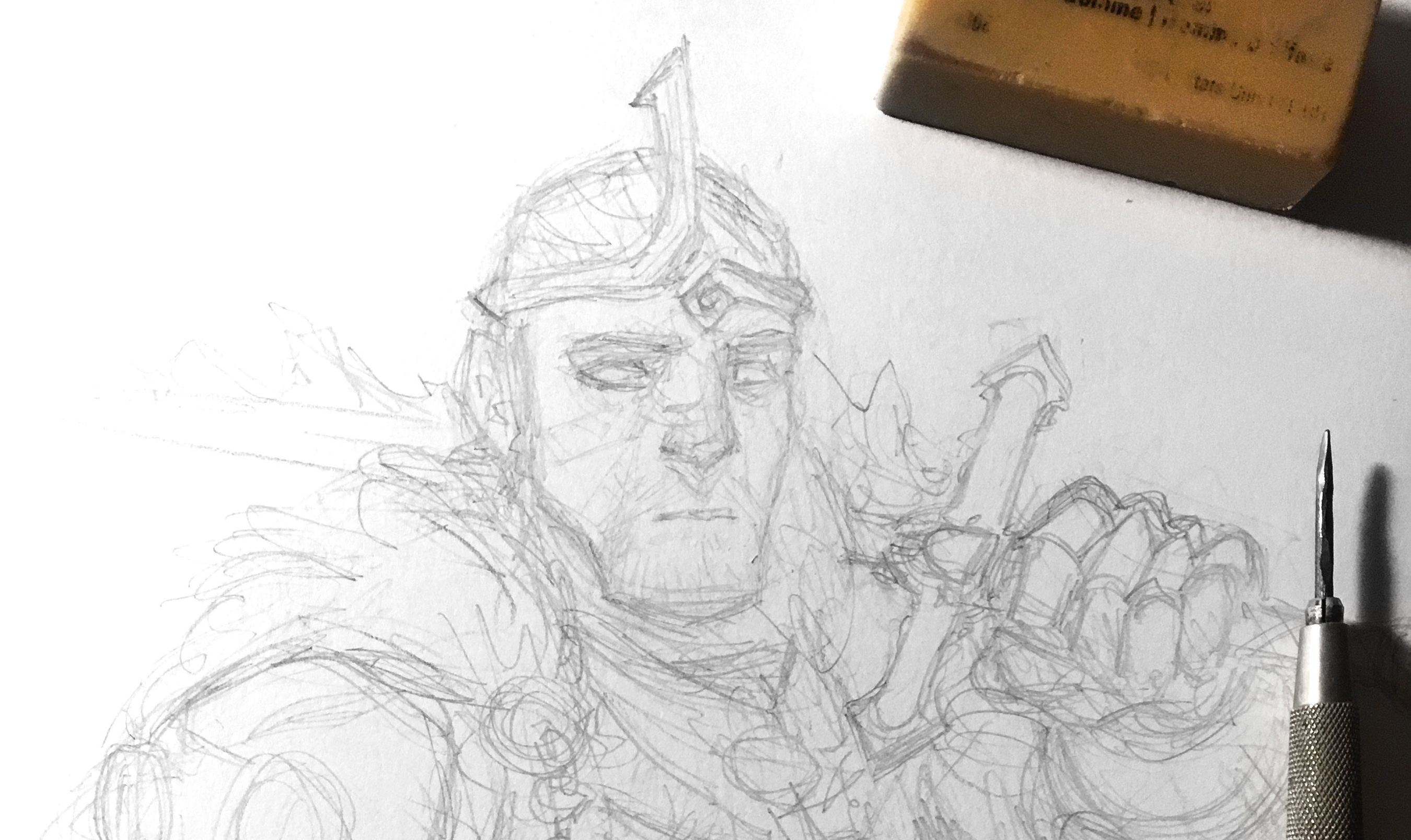 Pencil sketch of a man with a helmet and a sword