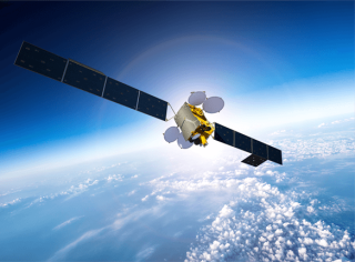 An artist's illustration of a Measat-3 communications satellite in orbit.