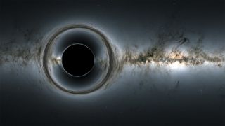 A simulated image of a black hole.